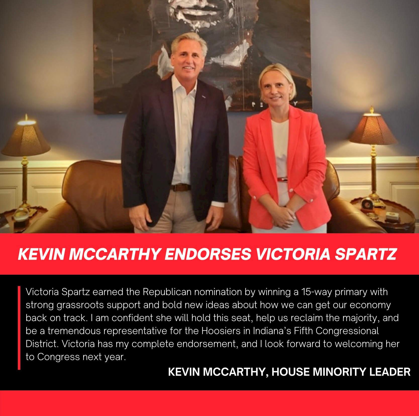 Leader Kevin McCarty endorses Victoria Spartz for Congress